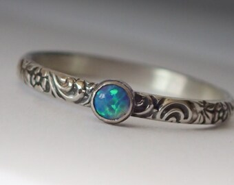 Dainty Blue Opal Ring, Sterling Silver Floral Pattern Band with 3mm Blue Opal, Opal Ring, Opal Ring Silver, Opal Jewelry, October Birthstone