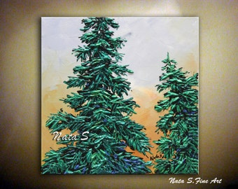 Modern Pine Tree Painting Abstract Contemporary Artwork Impasto Palette Knife Textured Pine Tree Art Painting  Modern Wall Decor by Nata S.