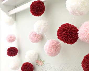 Valentine Pom Pom Garland - Red - Pink - White - Bowl Fillers - Party Garland - Decoration - Engagement - Celebration - Wedding - Accents