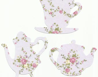 Light Purple Floral Teacup and Teapots Set Fabric Iron On Appliques