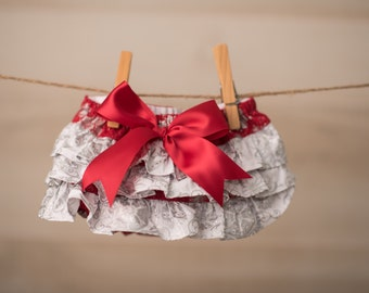 Baby Girl Bloomer-Christmas Bloomer-Vintage baby-red silver bloomer-holiday bloomer-red and silver ruffle diaper cover-