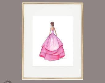 Watercolor Painting Print | Fashion Illustration Couture Dress | Neon Magenta Pink Purple | Nursery Art | Printable Instant Download