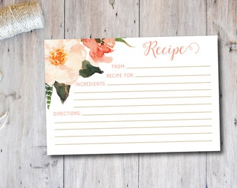 Boho Floral Recipe Card, Bridal Shower Recipe Card