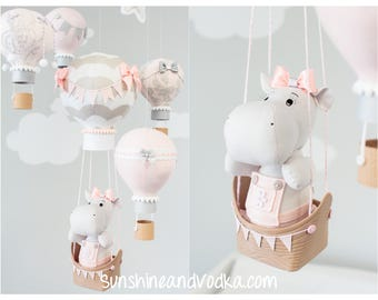 Hot Air Balloon Baby Mobile, Hippo Baby Mobile, Travel Theme, Nursery Decor, Baby Girl Nursery Decoration, i242