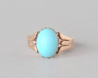 Antique Victorian Rose Gold Imitation Turquoise Ring. Size 4.25