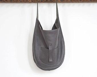 The Versailles- Leather Hobo Shoulder Bag- Slate