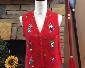 Vintage Ugly Tacky Christmas Sweater Vest Multiple Christmas Stockings Beaded Size PM 155