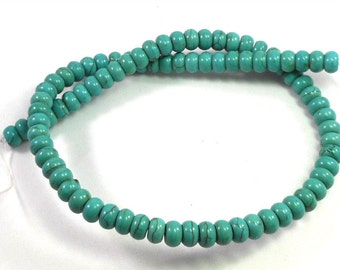Magnesite Stone Rondelle Beads, Turquoise Blue, Brown Matrix Lines, Full Strand, Blue Green Beads, Crafting Supply, Jewelry Making