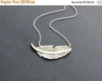 SALE Silver Feather Necklace, Boho, Solid Fine Silver Feather Pendant, Feather Necklace, Gift for Women, Gift Under 100, Gift Wrapped