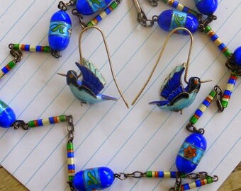 Old Chinese export Solid Silver enamel necklace (earrings sold seperately!)