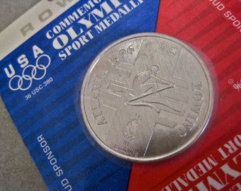 1996 OLYMPICS Rowing Medal Aluminum Coin General Mills Cereal Promo Sealed Medallion Sports Collectible USA Atlanta Georgia Souvenir