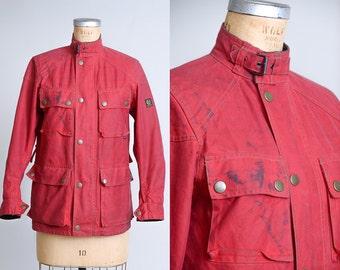 70s Belstaff Roadmaster Red Motorcycle Jacket Waxed Cotton Moto Jacket 40