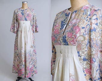 70s Butterfly Print Empire Waist Belle Sleeve Hippei Festival Dress