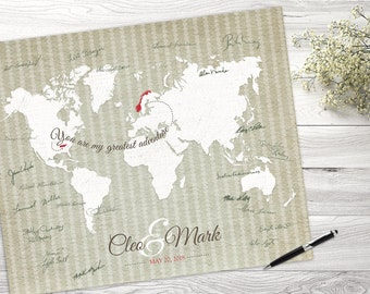 Adventure Map, Wedding Guest Map, Wedding Guestbook Alternative, Wedding Centerpiece, Wedding Guest Book, Custom Map, Hereandthereshop