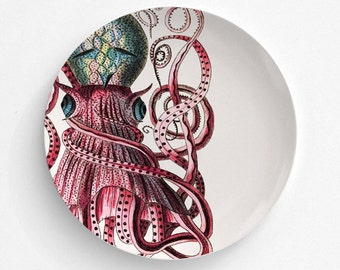 Octopus Melamine Plate, Melamine Plate, decorative plate, gift, Dinner Plate, Serving Plate