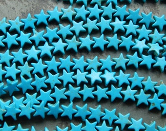 12mm Synthetic Turquoise Carved Star Beads, 15.5 Inch Strand (INDOC387)