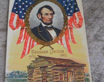 Vintage Patriotic Postcard - Abraham Lincoln - Boyhood Log Cabin Home