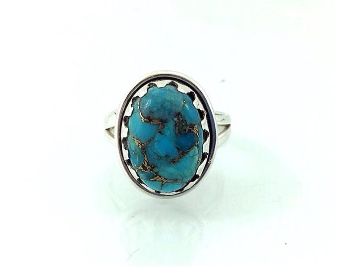 Superb Turquoise Sterling Silver Ring, Blue Stone Turquoise Ring with Copper. Size 6.5 Bohemian Rings, Southwest 925 Navajo Style Ring.