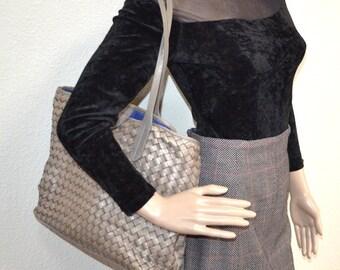 Vintage 90s Cole Haan woven genuine leather gray bag purse two handles bag designer shoulder bag