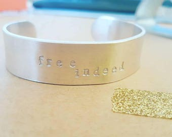 John 8:28 // Free Indeed Hand Stamped Bracelet