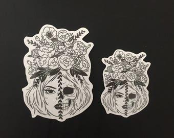 Girl/Skull Sticker