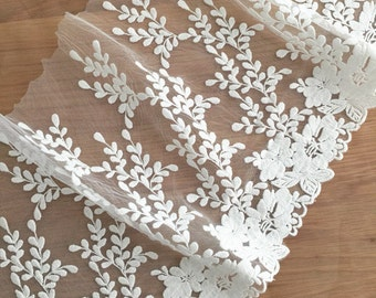 Cotton Lace Trim, Pretty Embroidered Lace Fabric, Vintage Rose design Trim, Mesh Tulle Lace Trim 2 yards