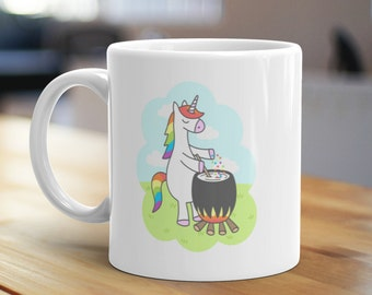 Unicorn Potion, Unique Coffee Mug, Illustrated Mug, Cute Mug, Gifts for Him, Gifts for Her, Fantasy Mug, Wizard Mug, Cauldron Mug