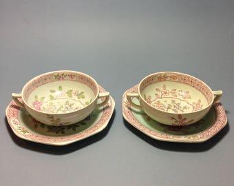 pr Calyx Ware Bouillon Bowl & Saucer Sets