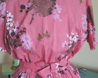 1950's Coral pink floral print dress