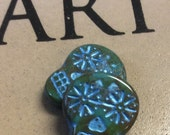 ON SALE Czech Sugar Skull Bead 20mm X 17mm Opaque Turquoise Picasso Finish Blue Wash Qty 2