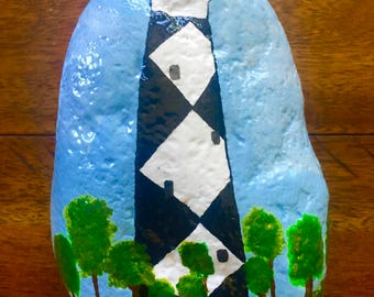 Hand Painted Rock Stone 2 Side Painted North Carolina Lighthouse Paperweight Door Stop Home Garden