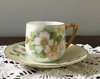 Demitasse Teacup and Saucer Marked RS Germany / Wild Rose and Mint Green