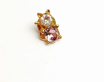 Rhinestones CAT lapel, gold tone, Gifts for him, Pre Holiday sale, item no B037