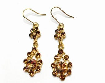 Crystal Earrings, multicolor, Vintage gold tone, Dangling, Clearance Sale, Item No. B435