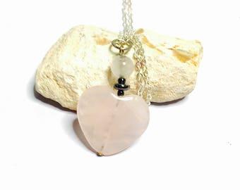 Rose Quartz Heart Pendant, Antique Silver, Pink Heart, Figural, Clearance Sale, Item No. S248