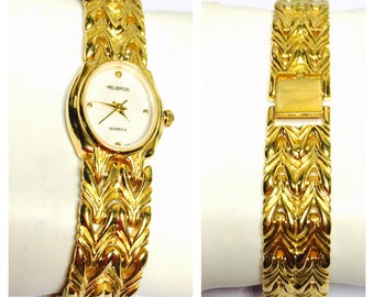 Vintage Helbros Wrist Watch, gold Tone, solid band, Clearance Sale, Item No. B200
