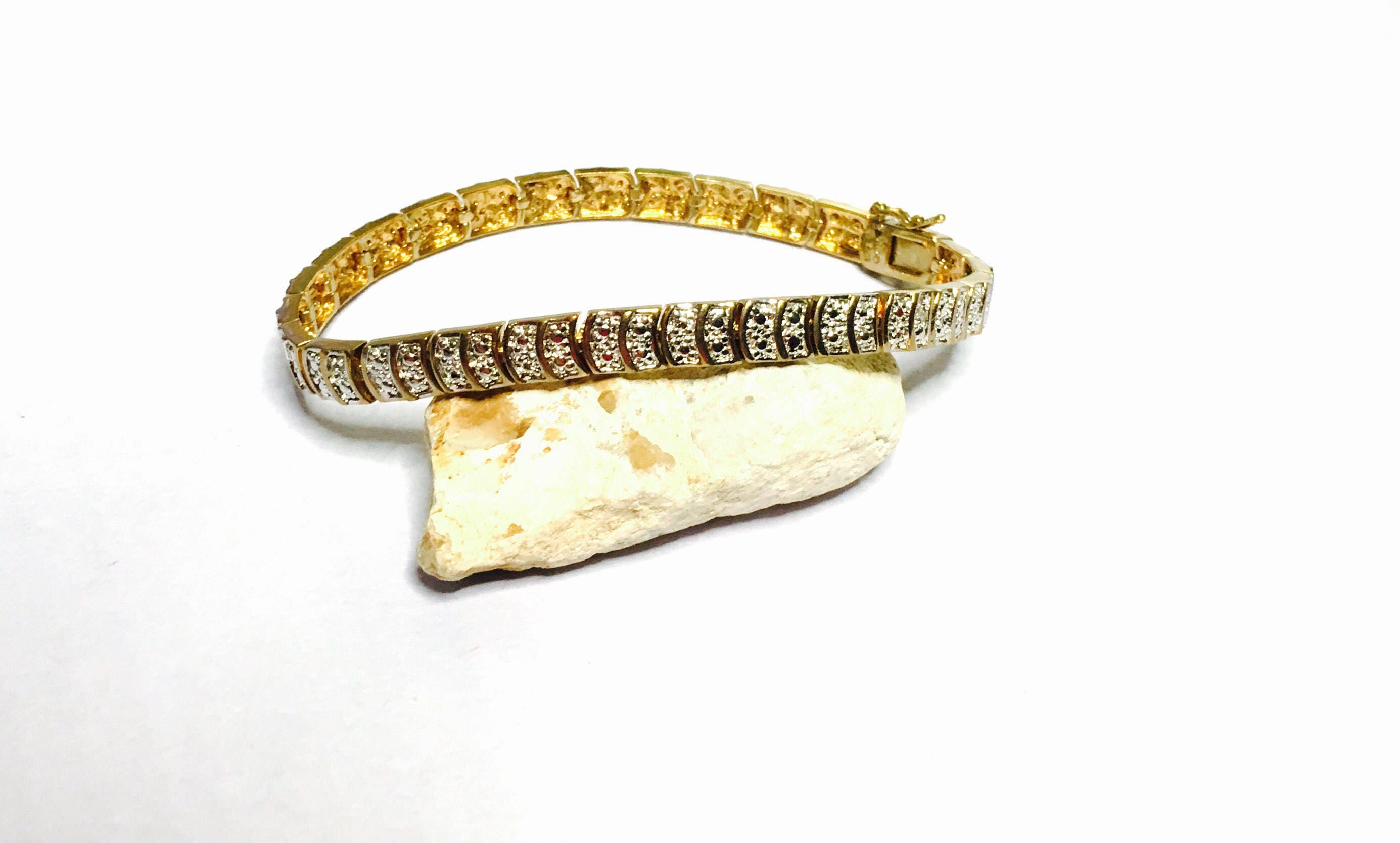 Silver diamond bracelet gold layer stamped 925 vintage for What does 925 ksj mean on jewelry