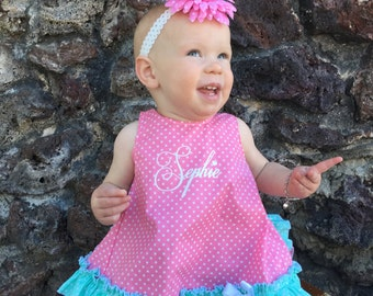Parley Ray Polkadot Birthday Pinafore Dress with Ruffled Baby Bloomers / Diaper Cover / Photo Props