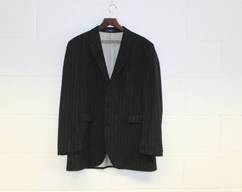 Vintage Kenzo Mens Blazer -Pinstripe Suit Jacket-Designer Quality Menswear-blue-two tone-Black- Formal-Large 42 chest