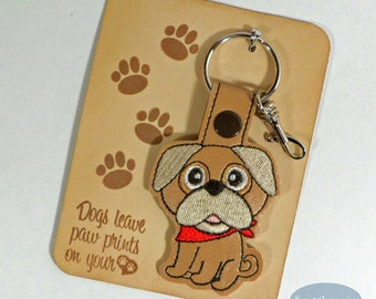 Pug Dog Breed Key Fob, Purse Charm
