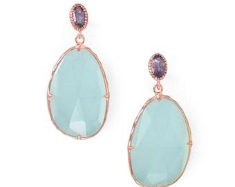 14 Karat ROSE GOLD Plated / Sterling Silver Iolite Chalcedony Gemstone Drop Earrings