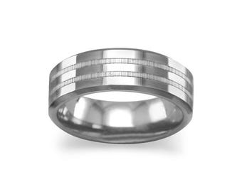 6.5mm Men's Tungsten Carbide Wedding Ring Band with Double Line Design - SIZE 8-13