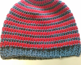 Red and Gray Striped Teen/Adult Hat - Ready to Ship