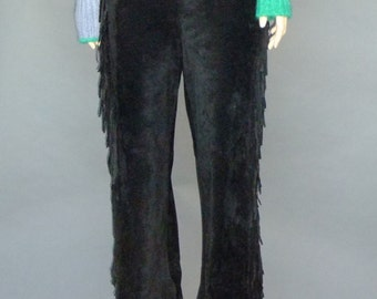 Black Leather Suede Pants, Fringe, Low Waist, Western, 90s Vintage