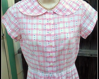 Vintage 1930s 1940s Red White Blue Day Dress Plaid Dots XS Extra Small World War II