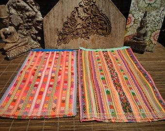 Vintage Embroidered Textile Set Of 2, Tribal Textile, Vintage Cross Stitch, Cross Stitch Vintage Textile