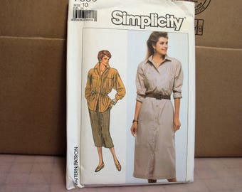 Misses Shirtwaist dress, shirt and skirt,  Simplicity 7886, retro pattern, 1980s style