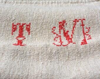 Antique Homespun Textile with T M Initials,  Vintage Linen Grain Sack, European Grainsacks, French Country Decor