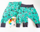 Baby harem pants, teepee print, aqua, brown, newborn, 0-3m, 3-6m, 6-12m, various sizes, baby gift, homecoming outfit, new baby