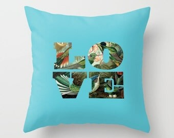 4 colours, Hummingbirds Pillow, aqua blue, Love decor, Birds, Nature cushion cover, Vintage style, Faux Down Insert, Indoor or Outdoor cover